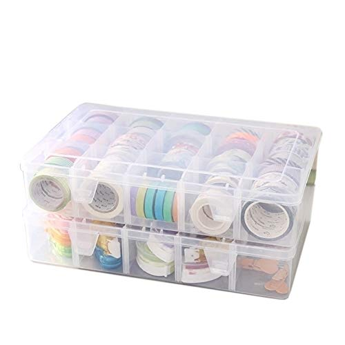 Adjustable 15-Compartment Grid Slot Plastic Storage Box Jewelry Bead Tool for Washi Tape, Art Supplies and Sticker Container Organizer Case