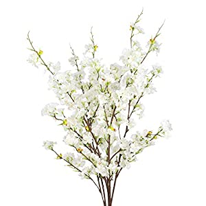 Cherry Blossom Flowers Artificial – 4 Stems Branches Long Stems Silk Tall Fake Flower Tree – Large Dogwood Blossoms Vases Arrangements for Home Decor, Wedding, Vase – 39 Inch Faux Stem -Deep Pink