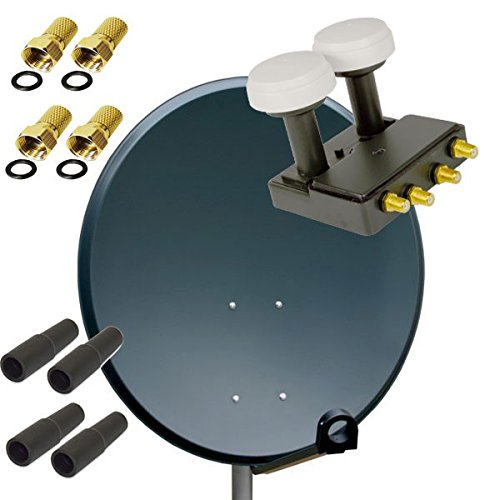 PremiumX HD SAT Anlage PXS-80 Stahl Schüssel 80cm Spiegel Antenne Anthrazit + PremiumX PXMB-6Q Quad Monoblock LNB Black für Astra und Hotbird 0,1dB FULLHD 3D TV für 4 Teilnehmer + 4 F-Stecker 7mm vergoldet + 4 Gummitüllen