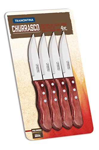 Tramontina 29899-150 Jumbo-Steakmesser-Set, 4-tlg. mit roten Griffen