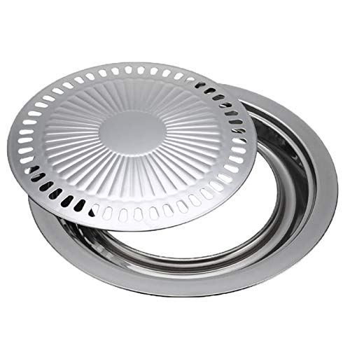 RM-WANGLUO-HZ Bequem Und Praktisch Runde Pfanne Rauchfreier Grill Grill Antihaft-Backblech Grillzubehör Werkzeuge (Color : Sliver)