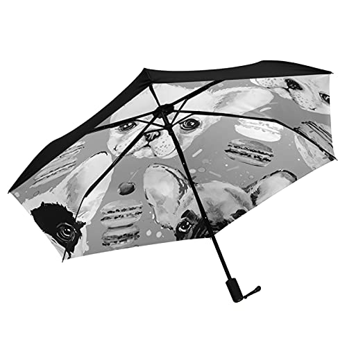 Oyihfvs French Bulldog Donuts Seamless Inner Print Folding Umbrella, Strong Lightweight Travel Rain Umbrella, Portable Compact Sun Parasol with UV Protection