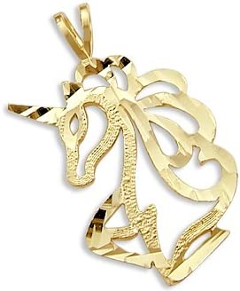 Solid 14k Yellow Gold Unicorn Pretty Charm Super beauty product Gifts restock quality top Pendant Head