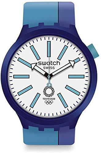 Swatch Unisex Analoger Quarz Uhr mit Kunststoff Armband SO27Z100