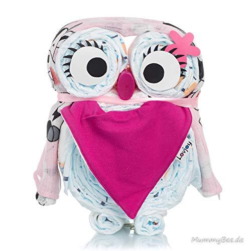 Windeleule Melly -Windeltorte-Babygeschenk-Geschenk zu Geburt-mit Schnullerkette-individuell