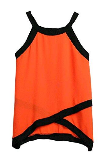 DressUWomen Damen asymmetrische splicing ärmellosen chiffon-t-shirt tank top S Orange