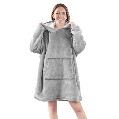 Segorts Übergroße Hoodie Sweatshirt Damen Plüsch Pullover mit Kapuze Original Decke Riesen Sweatshirt Super weich bequem Einheitsgröße Grau für Erwachsene Frauen Mädchen