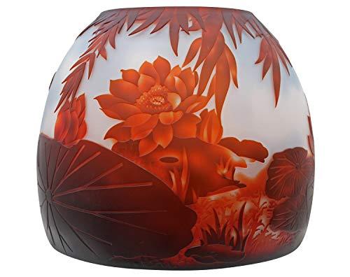 aubaho Vase Replika nach Galle Gallé Lotusblüte Glas Antik-Jugendstil-Stil Kopie c14