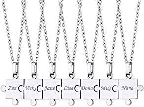U7 Text Engraving Puzzle Necklace Set of 2/3/4/5/6/7/8 Piece Pendant with Rolo Cable Chain 22