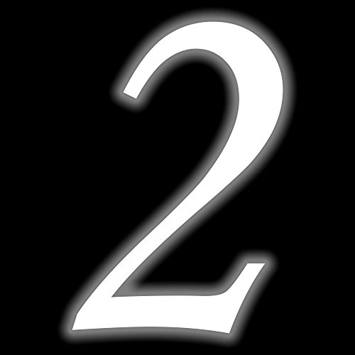 Leuchtziffer - Selbstklebende Hausnummer - 2 - leuchtend, 10 cm hoch - Kleben statt Bohren, nachleuchtend Aufkleber, Ziffer, Zahlen - Leuchtfolie