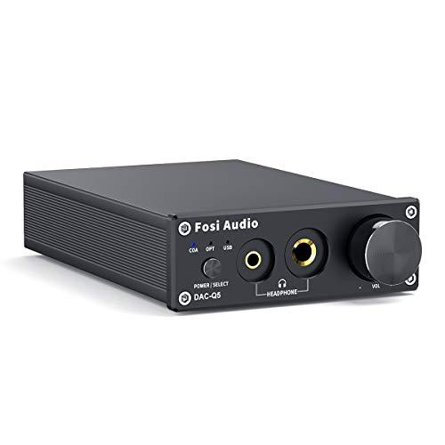 Convertitore DAC Decodificatore adattatore digitale / analogico 24 / bit / 192 kHz ottico / coassiale / USB Amplificatore per cuffie e mini preamplificatore stereo - Fosi Audio Q5 (nero)