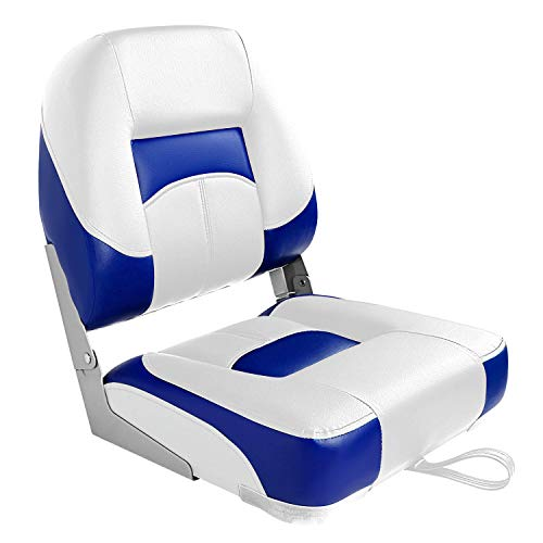 Leader Accessories Low Back Folding Fishing Boat Seats (White/Blue(1 seat))