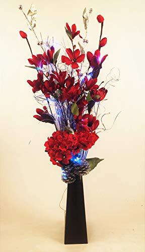 Link Products handgemaakte bos bloemen rood zilver met licht 20 LED lampen batterijen niet inbegrepen vaas kunstzijde gedroogde kruiden hoogte 85 cm