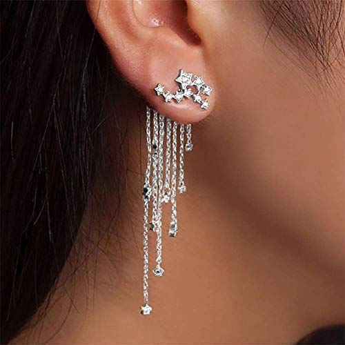Deniferymakeup Shining Stars Tassel Earrings Hanging Exquisite Earrings,for Women and Girls (Silver)