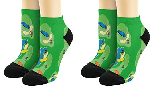 Sports Gift Set Disc Golf Course Socks Lucky Socks Disc Golf Themed Gift 2-Pairs Novelty Ankle Socks