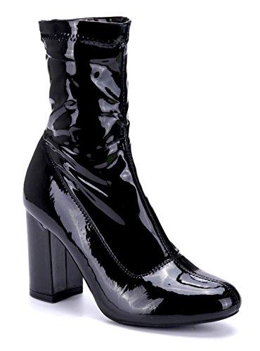 Schuhtempel24 Damen Schuhe Klassische Stiefeletten Stiefel Boots schwarz Blockabsatz schlupf 9 cm