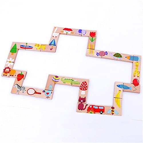 ELKeyko 28 unids/Set Montessori Educación Earra Animal Dominó Dominó Puzzle de Madera Dibujos Animados Apilado Clasificación Educativa Niños Juguetes Regalos