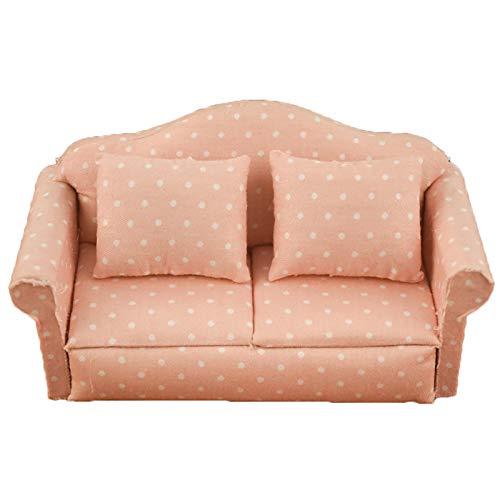 GRASARY Holzmaßstab 1:12 Einfache Handgemachte Puppenhaus Sofa Miniaturmöbel Für Mädchen, Perfekte DIY Puppenhaus Spielzeug Geschenkset EIN
