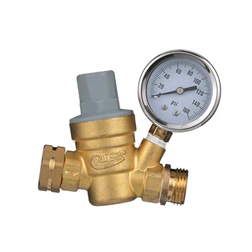 Valterra RV Water Regulator, Lead-Free Brass Adjustable Water Regulator with Pressure Gauge for C...