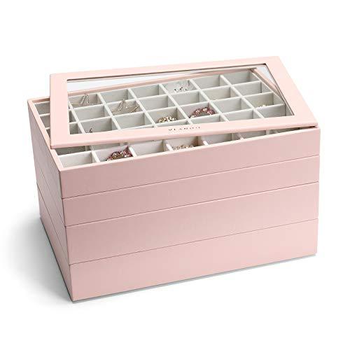 Vlando Miller - Bandeja organizadora de joyas apilable con tapa transparente, vitrina de almacenamiento para cajón o aparador para...