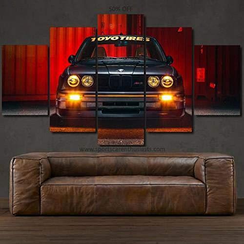 QQWW Cuadro sobre Impresión Lienzo 5 Piezas -Mural Moderno 5 Piezas BMW E30 M3 Dormitorios Decoración para El Hogar -No Tejido Lienzo Impresión- Modular Poster Mural-Listo para Colgar
