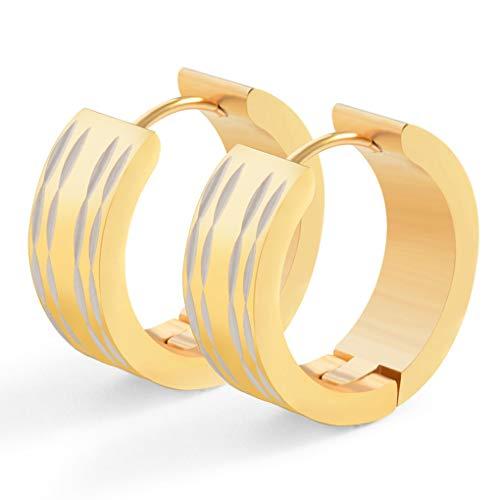 YUYAXPB Stijlvolle Titanium Steel Oorbellen 2cm * 0.6cm RVS Ronde Hoop Oorbellen Oorbellen Oorbellen Oorpiercing voor Mannen en Vrouwen Blauw/zwart/zilver/goud/roze Gift