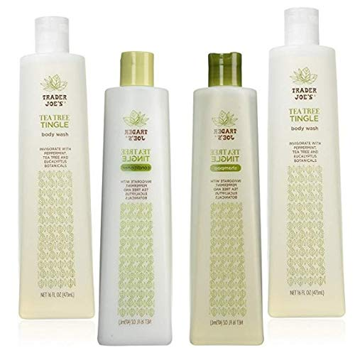 Tea Tree Oil Tingle Shampoo, Conditioner and Body Wash Set with Peppermint, Tea Tree and Eucalyptus Botanicals, Cruelty Free Trader Joe's Tingle Variety Pack Bundle