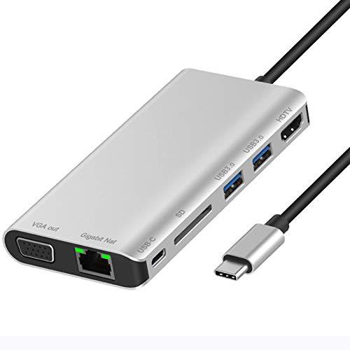 LTLJX Hub USB 3.0 de 7 Puertos con HDMI 4K, VGA, Gigabit Ethernet, 2 USB, Tipo C, Tarjeta SD, Base USB C Compatible con MacBook, Otros Portátiles USB C,Plata