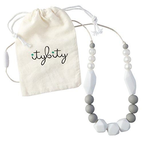 Baby Teething Necklace for Mom, Silicone Teething Beads, 100% BPA Free (Pearl, White, Gray, White)