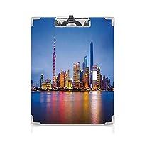 クリップボード 黄浦江の夕暮れの中国上海の都市 プレゼントA4 バインダー 街並み 用箋挟 クロス貼 A4 短辺とじ有名な旅行先 ブルーピンクイエロー