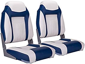 NORTHCAPTAIN S1 Deluxe High Back Folding Boat Seat(2 Seats),White/Blue,Stainless Steel Screws Included