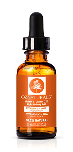 Oz naturals Vitamin C Serum + AHA For Skin - Anti Aging Anti Wrinkle Serum Combines Potent Vitamin C with Natural Alpha Hydroxy Acids Which Deliver The Youthful Glow You\'ve Been Looking For!