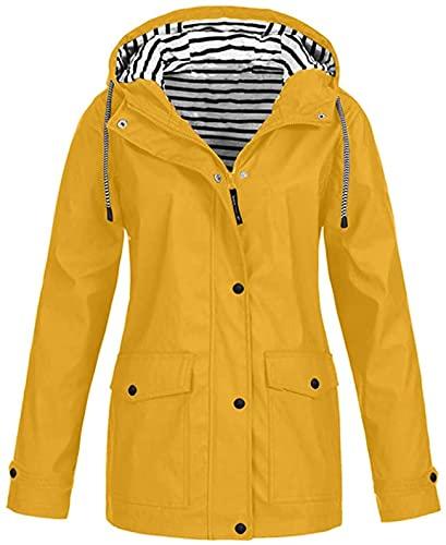 Ropa de senderismo para mujer para adultos y mujeres más tamaño Chaquetas de lluvia impermeables mujeres de manga larga a prueba de viento abrigo señoras, A16-amarillo, M
