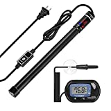 VIVOSUN Submersible Aquarium Heater with Thermometer Combination, 50W/100W/200W/300W/400W/500W Titanium Fish Tank Heaters with Intelligent LED Temperature Display and External Temperature Controller