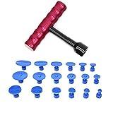 Extractor de Abolladuras en Forma de T con 18 Juntas Azules Herramienta de Reparación Automática del Cuerpo del Automóvil Portátil Herramienta de Diapositiva de Ventosa Kit de Martillo