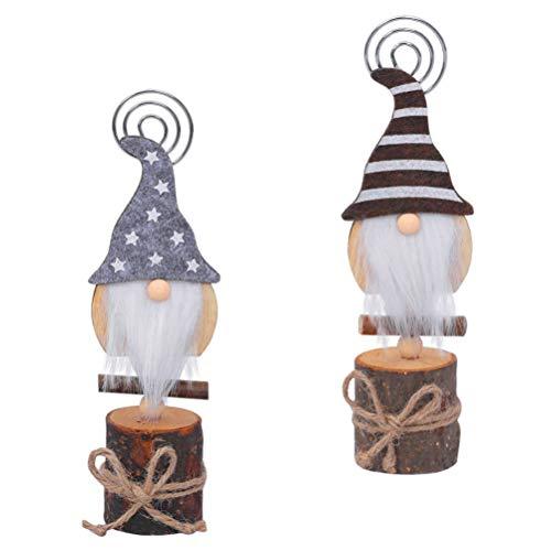 VORCOOL 2Pcs Weihnachten Tischkartenhalter Cartoon GNOME Puppe Tischkartenständer Holzbasis Fotonummer Clip Memo Notizhalter für Weihnachten Festliche Feiertagsdekor Grau