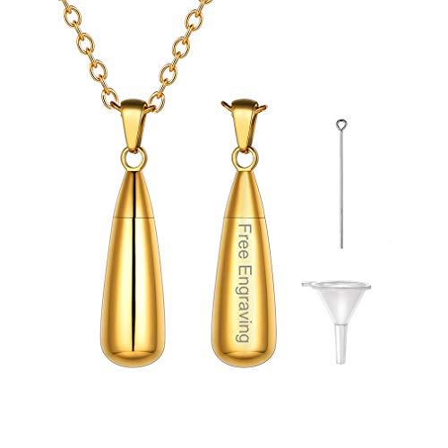 FaithHeart Collares Médicos Personalizables Contenedor de Líquidos Colgantes Dorados para Masculinos y Femeninos Lágrimas Diseño Personalizado Urna de Cremación
