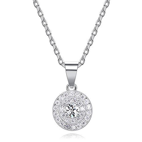 DEQIAODE Damen Halskette 925 Sterling Silber mit Kristallen von Swarovski Rund Anhänger, Muttertagsgeschenke, Allergenfrei Bestanden SGS Inspection