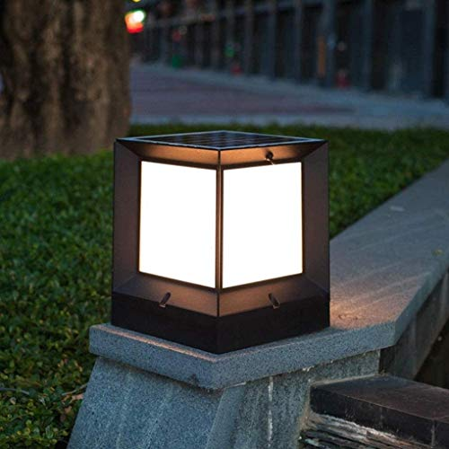 Außenleuchte gartenlampen beleuchhtung lampadaire Pillar-Lampe LED-Art Gusswasserdichtes Solar-Säule Pfosten Licht Klassisches Garten Außenregenfest Säule Lampe Zaun Deck Patio Pool Decor (Farbe: 27cm