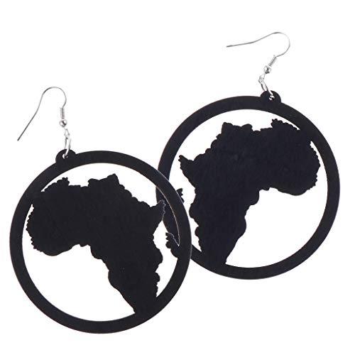 Exaggerate Geometric Earrings African Map Natural Wood Earrings Wooden Earrings for Women Statement Earrings - Black