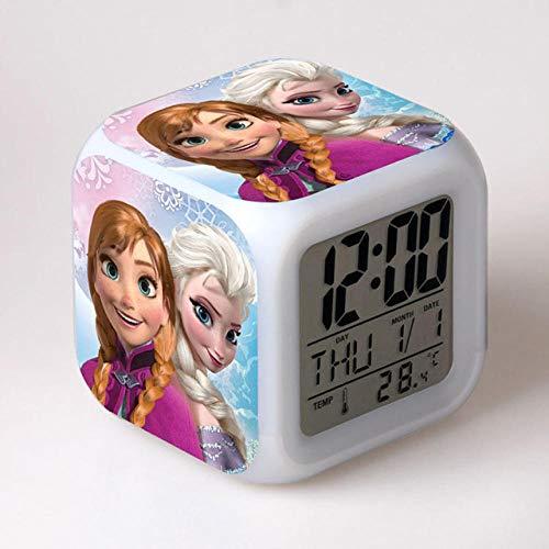 Réveil de dessin animé congelé 7 couleurs changeantes veilleuse Led réveil numérique étudiant brillant enfants horloge de bureau avec thermomètre adulte enfants cadeau - 6