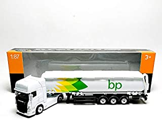 Welly 1:87 Die-cast Scania V8 R730 BP Oil Tanker Truck White Model with Box Collection Christmas New Gift