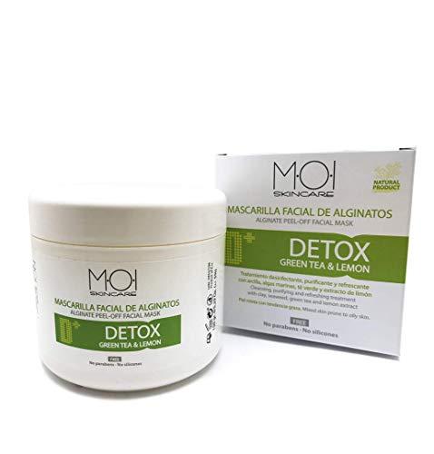 Mascarilla facial de alginatos DETOX con té verde y extracto limón 150gr. M·O·I Skincare