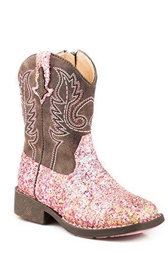 Roper Girls' Glitter Aztec Western Boot Square Toe Pink 12 D