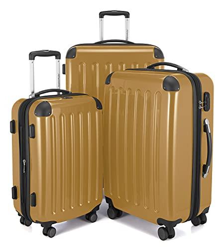 HAUPTSTADTKOFFER - Alex – Set di 3 valigie trolley, valigetta da viaggio espandibile, TSA, 4 ruote, (S, M e L), Oro, Koffer-Set,