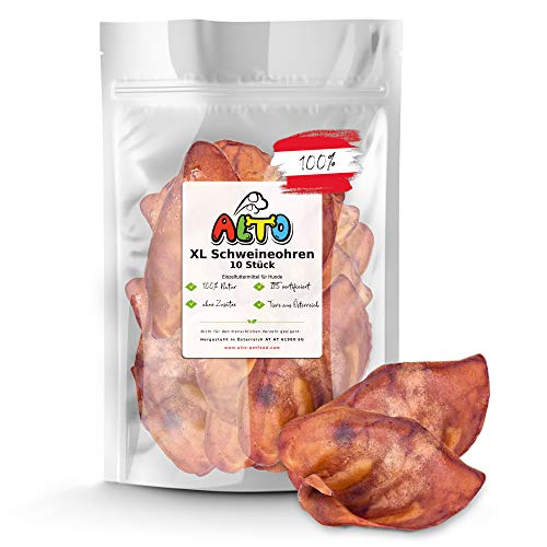 Alto-Petfood - 10 XL Ganze getrocknete Schweineohren für Hunde | ohne fettige Muschel | 100% Natürlich | Premium Qualität | Naturkauartikel, Kausnack, Hundesnack, Kauartikel, Schweine-Ohren