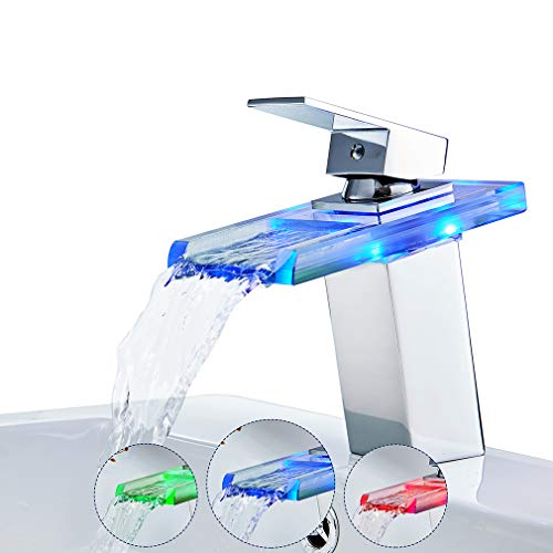 Rovate LED RGB 3colores armario de baño lavabo grifo grifo único agujero único...