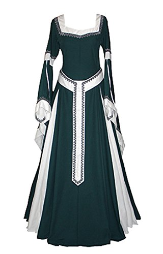 Womens Medieval Dress Renaissance Costumes Irish Over Long Dress Cosplay Retro Gown