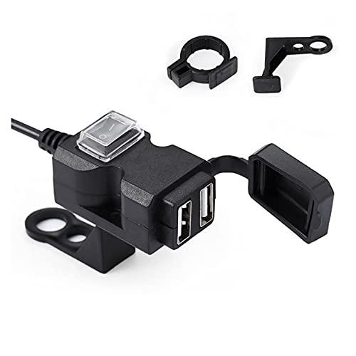 enenjie ENE Puerto Dual USB 5V 1A / 2.1A Motorario Impermeable Manillar Manguito de Suministro Enchufe Adaptador Cargador Power Universal para teléfono móvil (Size : A)