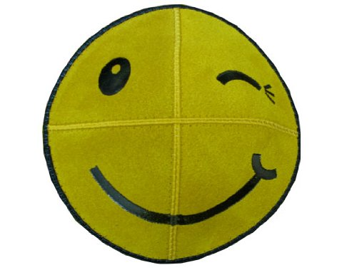 Winky Smiley Face Foil Embossed Suede Kippah